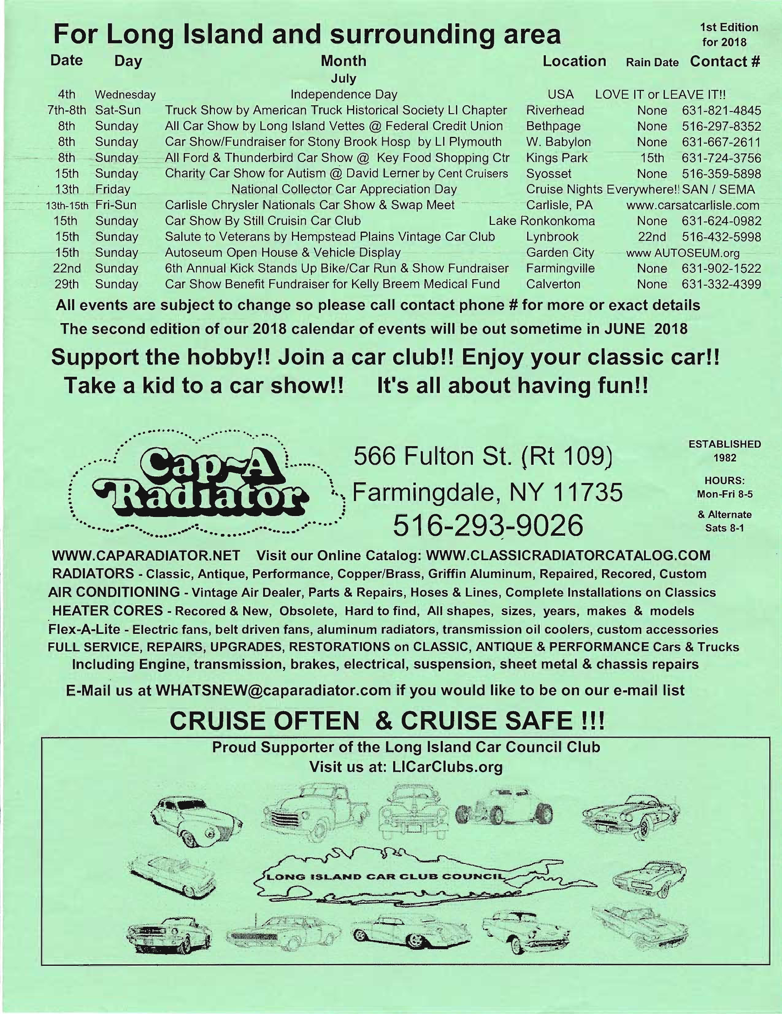 2018 Classic Car Calendar of Events First Edition through July Page 3