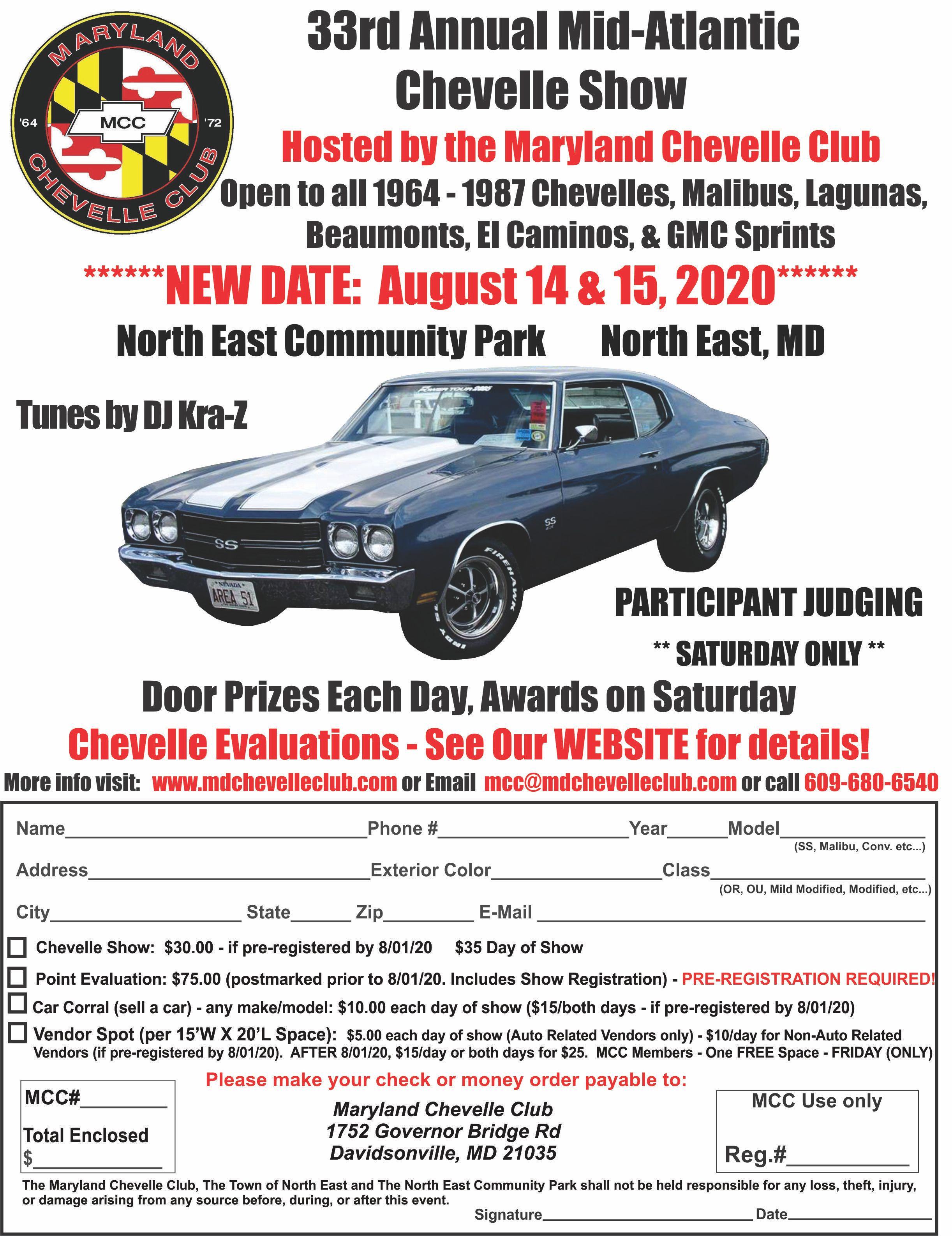 2020 33rd Annual Mid-Atlantic Chevelle Show August 14th and 15, 2020