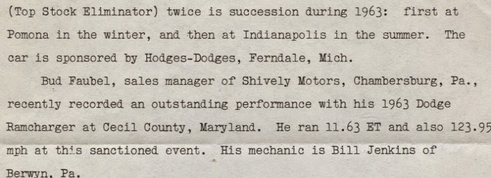 "A letter from Dodge Public Relations that was sent to Frank introducing the ""new"" Ramchargers engine program."